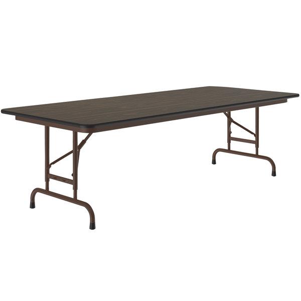 "Correll Folding Table, 30"" x 72"" Melamine Top, Adjustable Height, Walnut - CFA3072M Main Image 1"