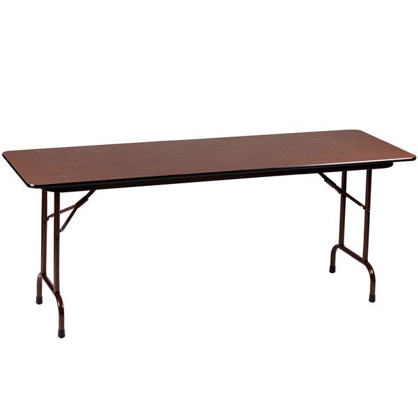 "Correll Folding Table, 30"" x 72"" Melamine Top, Adjustable Height, Walnut - CFA3072M"