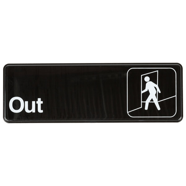 "Out Sign - Black and White, 9"" x 3"""
