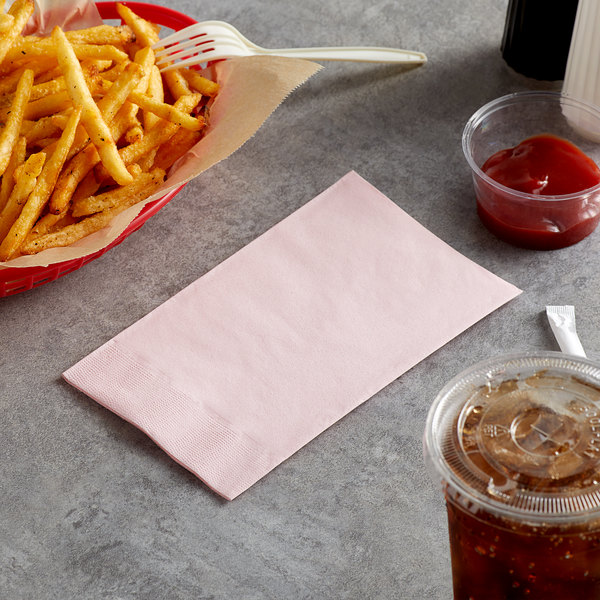 """Choice 15"""" x 17"""" Customizable Pink 2-Ply Paper Dinner Napkin - 1000/Case Main Image 3"""