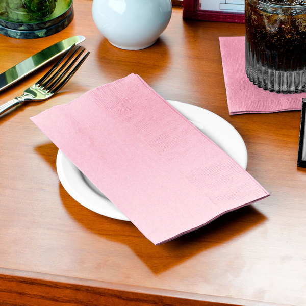 """Choice 15"""" x 17"""" Customizable Pink 2-Ply Paper Dinner Napkin - 1000/Case"""