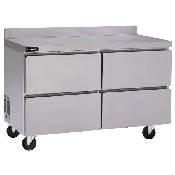 "Delfield GUR60BP-D 60"" Worktop Refrigerator with Four Drawers and Backsplash"