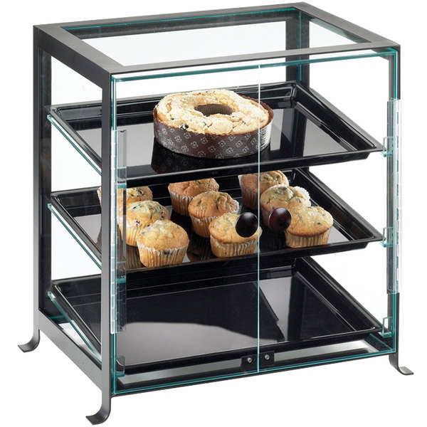 """Cal-Mil 1575-S-13 Soho Three Tier Black Display Case with Front Doors - 21 1/4"""" x 15 3/4"""" x 20 3/4"""""""