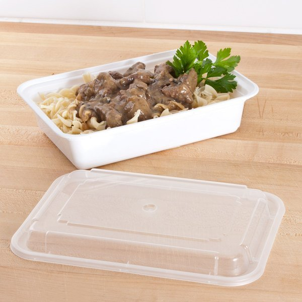 """Newspring NC888 38 oz. White 6"""" x 8 1/2"""" x 2"""" VERSAtainer Rectangular Microwavable Container with Lid - 150/Case"""