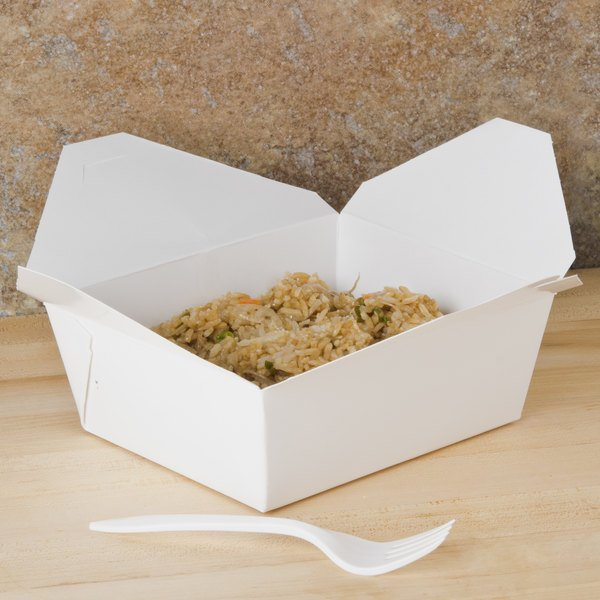 "Southern Champion 0778 6"" x 5"" x 3"" ChampPak Retro White Microwavable Paper #8 Take-Out Container - 50/Pack"