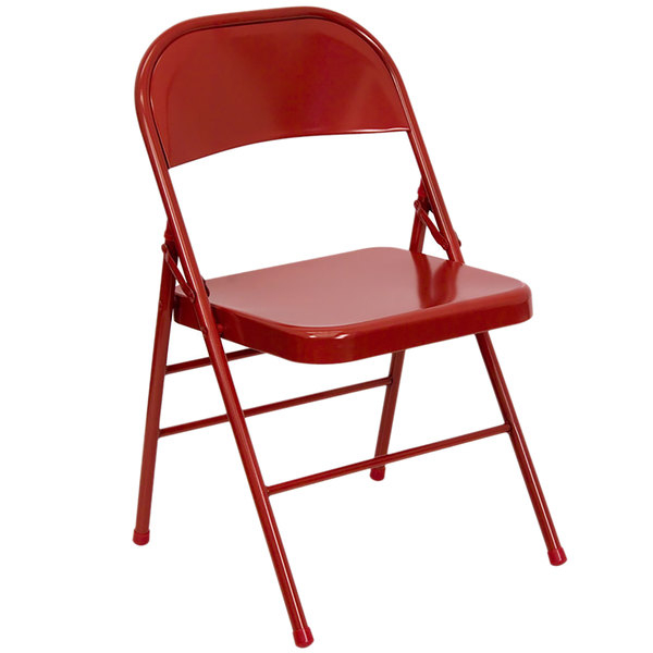 Flash Furniture HF3-MC-309AS-RED-GG Red Metal Folding Chair Main Image 1