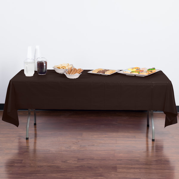 "Creative Converting 723038B 54"" x 108"" Chocolate Brown Disposable Plastic Table Cover - 24/Case"