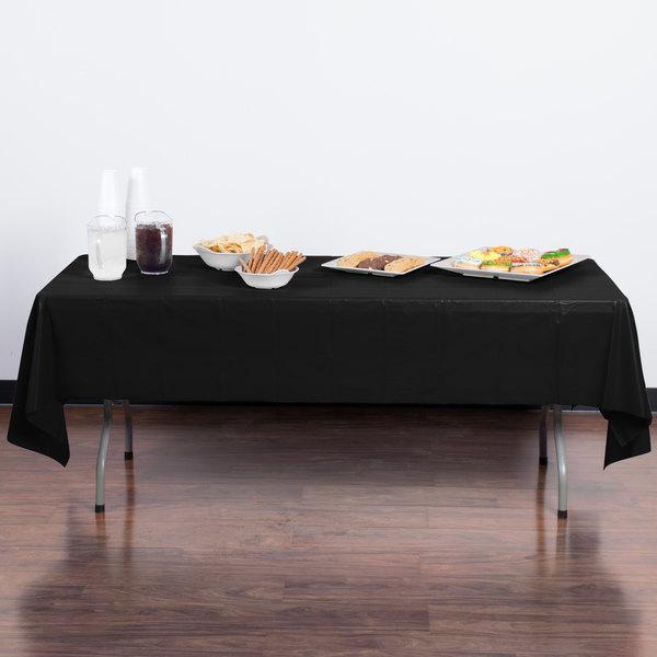 "Creative Converting 01290B 54"" x 108"" Black Velvet Disposable Plastic Table Cover - 24/Case Main Image 3"