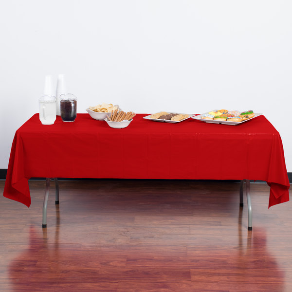 "Creative Converting 011031B 54"" x 108"" Classic Red Disposable Plastic Table Cover - 24/Case"