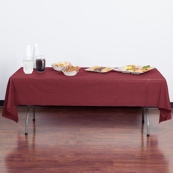 """Creative Converting 723122 54"""" x 108"""" Burgundy Disposable Plastic Table Cover - 12/Case Main Image 3"""