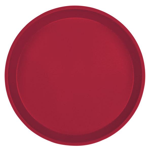 "Cambro 1550505 16"" Low Profile Round Cherry Red Customizable Fiberglass Camtray - 12/Case"