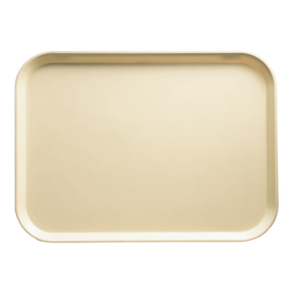 "Cambro 3242537 12 1/2"" x 16 1/2"" (31,9 x 41,9 cm) Rectangular Metric Cameo Yellow Customizable Fiberglass Camtray - 12/Case"