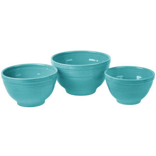 Homer Laughlin 967107 Fiesta Turquoise 3-Piece Prep Baking Bowl Set ...