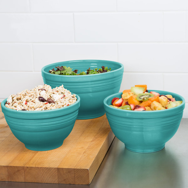 Homer Laughlin 967107 Fiesta Turquoise 3-Piece Prep Baking Bowl Set - 2/Case