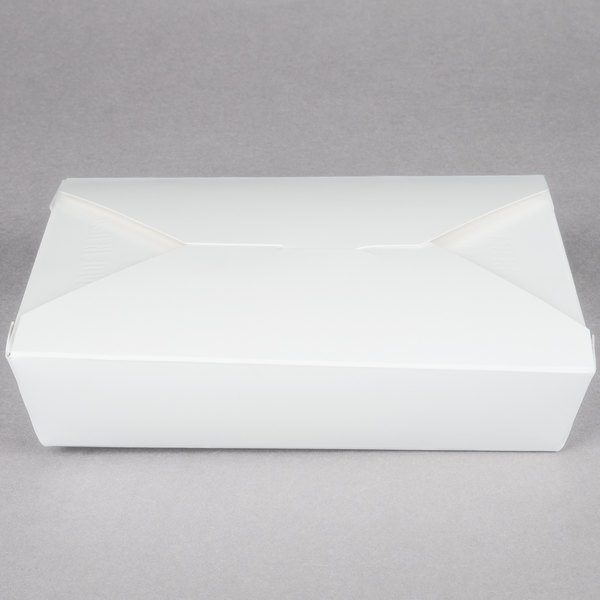 Southern Champion 772 7 3/4 inch x 5 1/2 inch x 1 7/8 inch ChampPak Retro White Microwavable Paper #2 Take-Out Container - 50/Pack