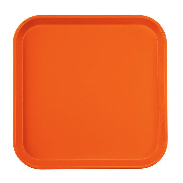 "Cambro 1313220 13"" x 13"" (33 x 33 cm) Square Metric Citrus Orange Customizable Fiberglass Camtray - 12/Case"