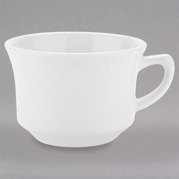 Tuxton YPF-0752 Sonoma 7 oz. Bright White Embossed Rim China Cup - 36/Case