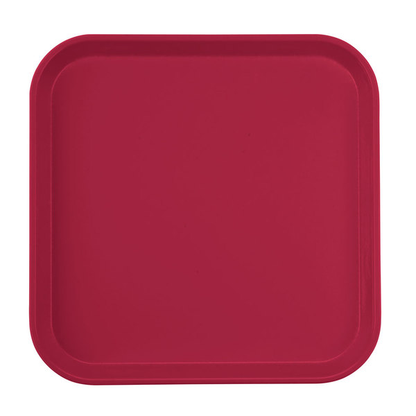 "Cambro 1313505 13"" x 13"" (33 x 33 cm) Square Metric Cherry Red Customizable Fiberglass Camtray - 12/Case"
