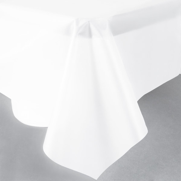 """Creative Converting 01320 54"""" x 108"""" Clear Disposable Plastic Table Cover - 12/Case"""