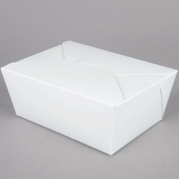 8 inch x 6 inch x 4 inch ChampPak Retro White Paper #4 Take-Out Container - 40 / Pack
