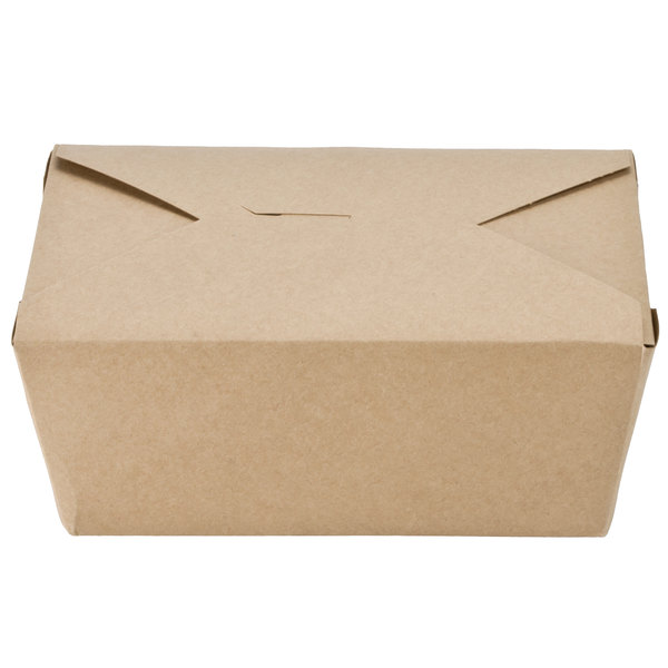Southern Champion 0764 8 inch x 6 inch x 4 inch ChampPak Retro Kraft Microwavable Paper #4 Take-Out Container - 40/Pack