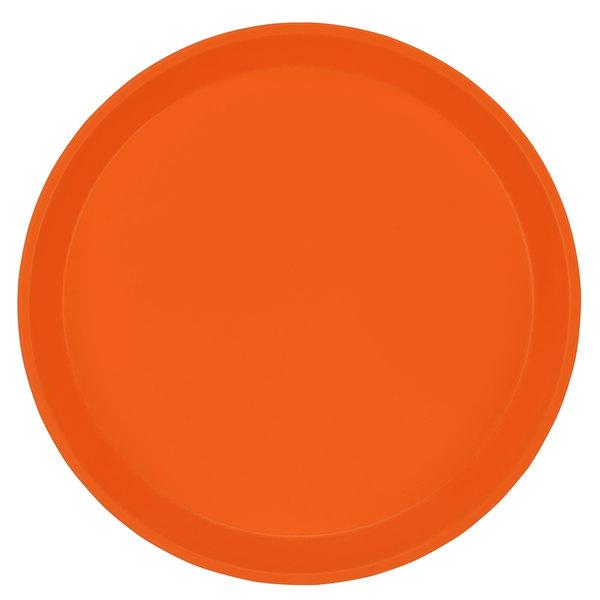 "Cambro 1950220 19 1/2"" Low Profile Round Citrus Orange Customizable Fiberglass Camtray - 12/Case"
