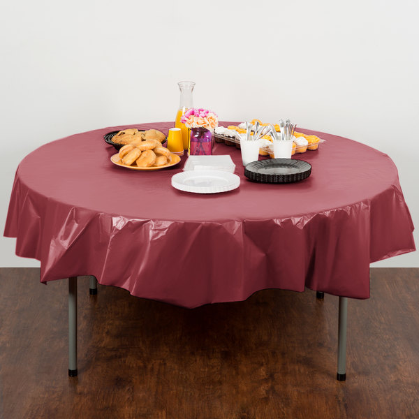 "Creative Converting 703122 82"" Burgundy OctyRound Disposable Plastic Table Cover - 12/Case Main Image 4"