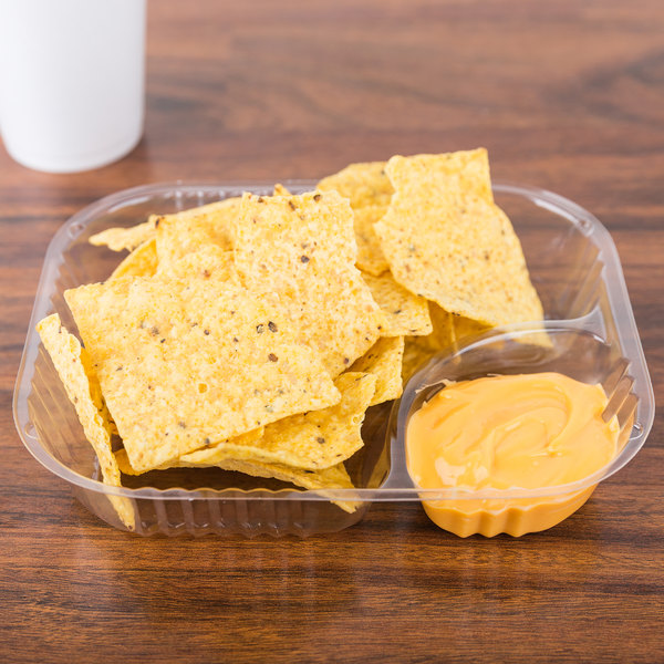 Dart C68NT2 2 Compartment Large Plastic Nacho Tray - 500/Case