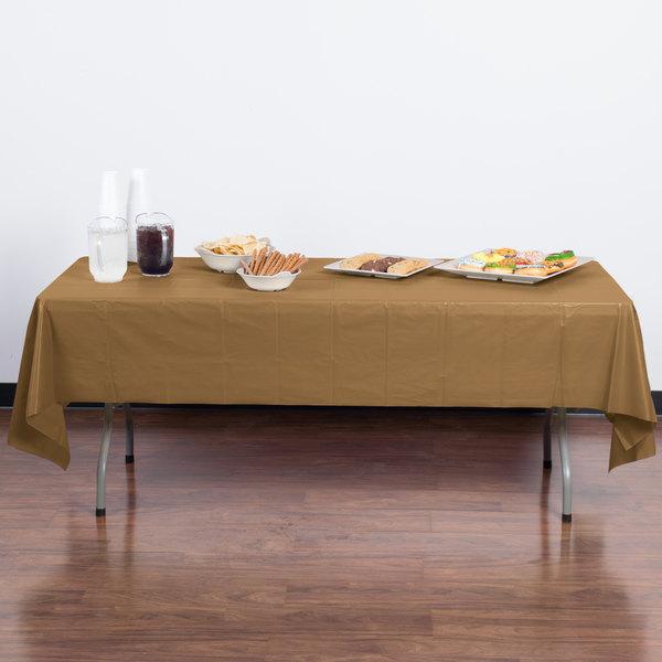"Creative Converting 01352B 54"" x 108"" Glittering Gold Plastic Table Cover - 24/Case"