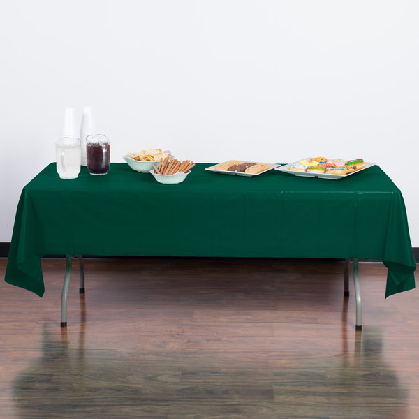 """Creative Converting 723124 54"""" x 108"""" Hunter Green Disposable Plastic Table Cover - 12/Case Main Image 3"""