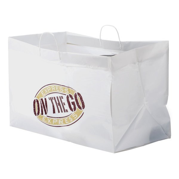 """22"""" x 14"""" x 15"""" White Rigid Plastic Handled Shopper Bag with """"Express On the Go"""" Printing - 50/Case"""
