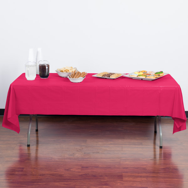 "Creative Converting 01413B 54"" x 108"" Hot Magenta Pink Disposable Plastic Table Cover - 24/Case Main Image 3"