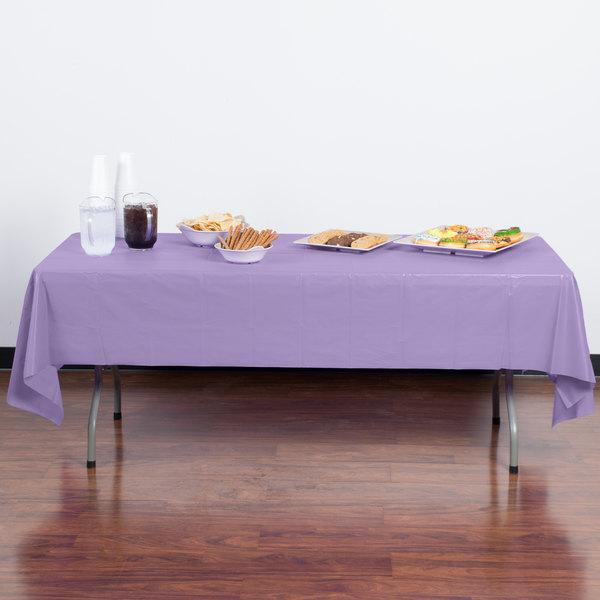 "Creative Converting 1250 54"" x 108"" Luscious Lavender Purple Disposable Plastic Table Cover - 12/Case Main Image 3"