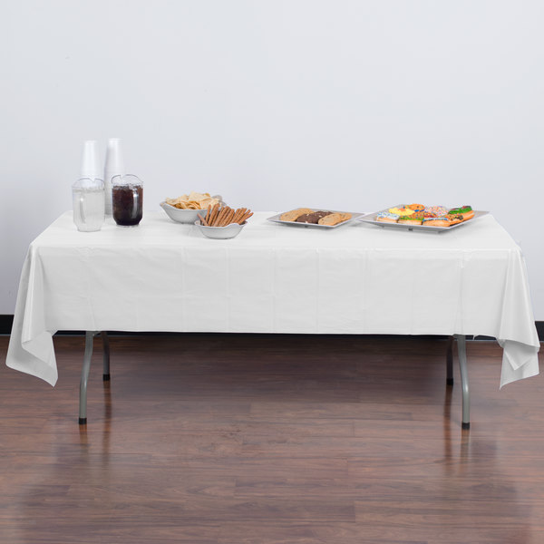 "Creative Converting 01255B 54"" x 108"" White Disposable Plastic Table Cover - 24/Case"