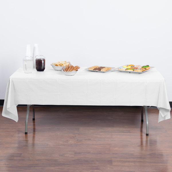 """Creative Converting 01255B 54"""" x 108"""" White Disposable Plastic Table Cover - 24/Case"""