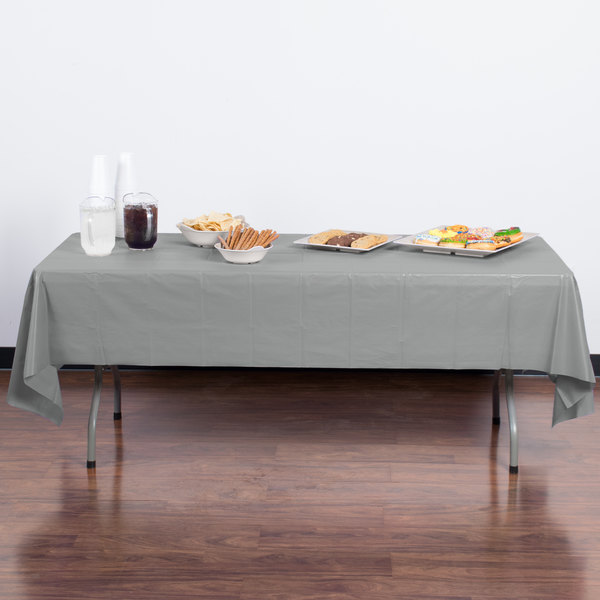 """Creative Converting 01203B 54"""" x 108"""" Shimmering Silver Disposable Plastic Table Cover - 24/Case"""