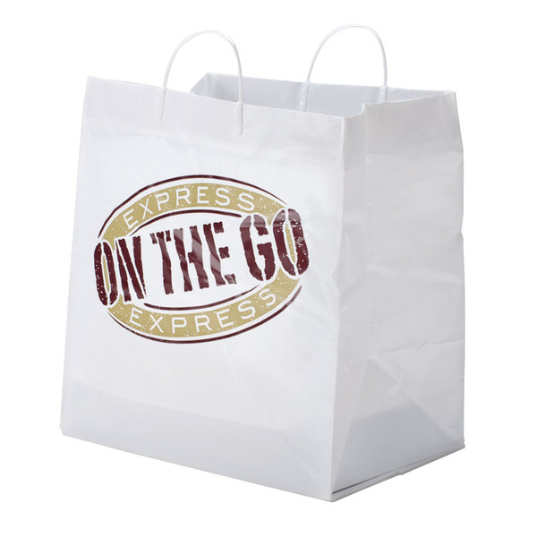 """14"""" x 10"""" x 15"""" White Rigid Plastic Handled Shopper Bag with """"Express On the Go"""" Printing - 100/Case"""