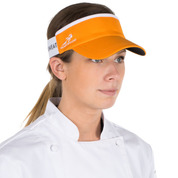 Headsweats Orange Customizable CoolMax Chef Visor Main Image 1
