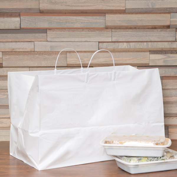 "19"" x 10"" x 12"" White Rigid Plastic Handled Shopper Bag - 200/Case Main Image 3"