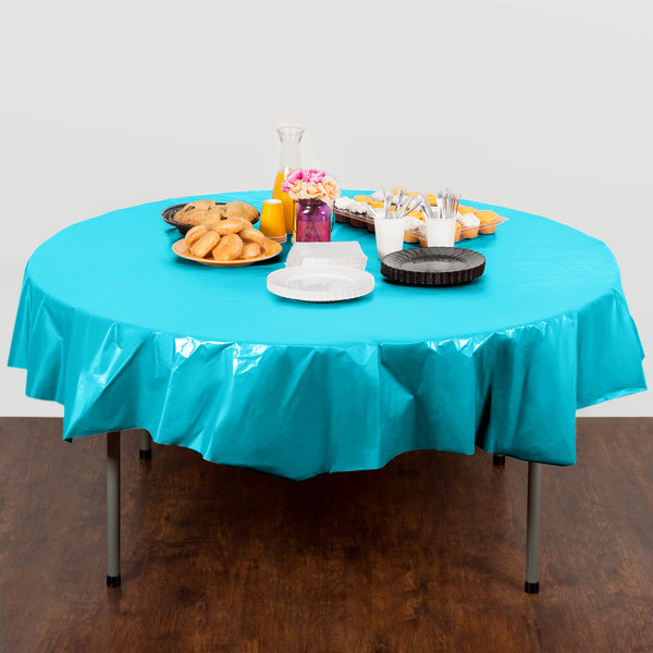 "Creative Converting 703552 82"" Bermuda Blue OctyRound Plastic Table Cover - 12/Case"