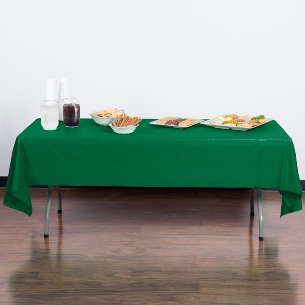 "Creative Converting 01191B 54"" x 108"" Emerald Green Disposable Plastic Table Cover - 24/Case"