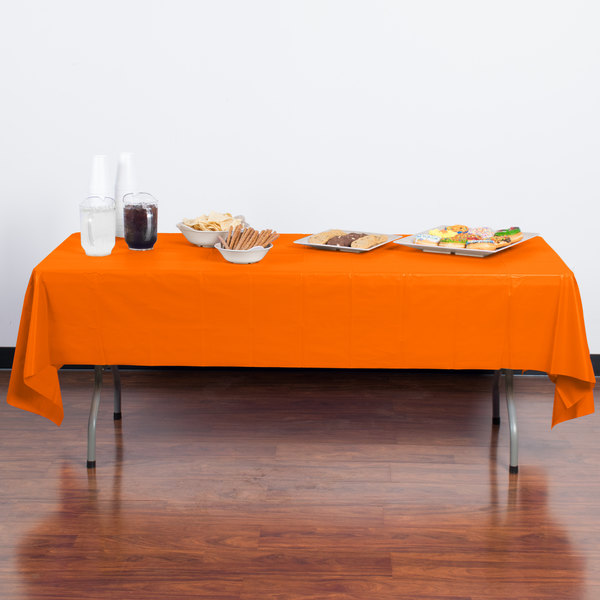 "Creative Converting 01192B 54"" x 108"" Sunkissed Orange Plastic Table Cover - 24/Case Main Image 3"