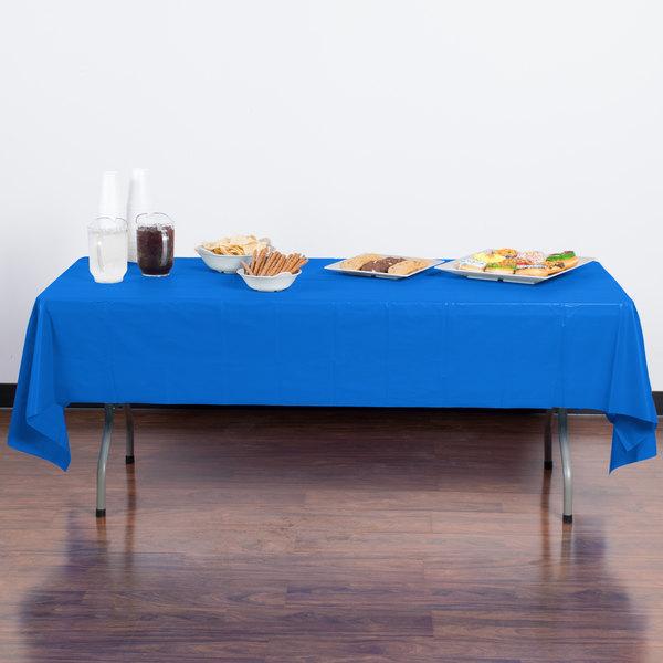 "Atlantis Plastics 2TCB108-12 54"" x 108"" Blue Disposable Plastic Table Cover - 12/Case"