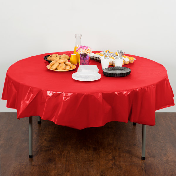 """Creative Converting 703548 82"""" Classic Red OctyRound Disposable Plastic Table Cover - 12/Case Main Image 4"""