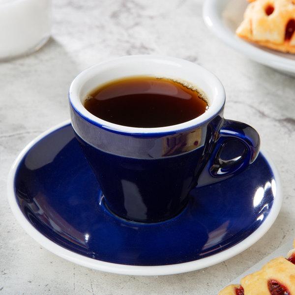 """CAC E-3-CBU Venice 3.5 oz. Blue Espresso Cup with 4 7/8"""" Saucer - 48/Case"""