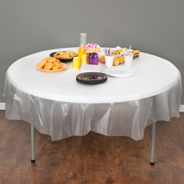 """Creative Converting 700418 82"""" Clear OctyRound Plastic Table Cover - 12/Case"""