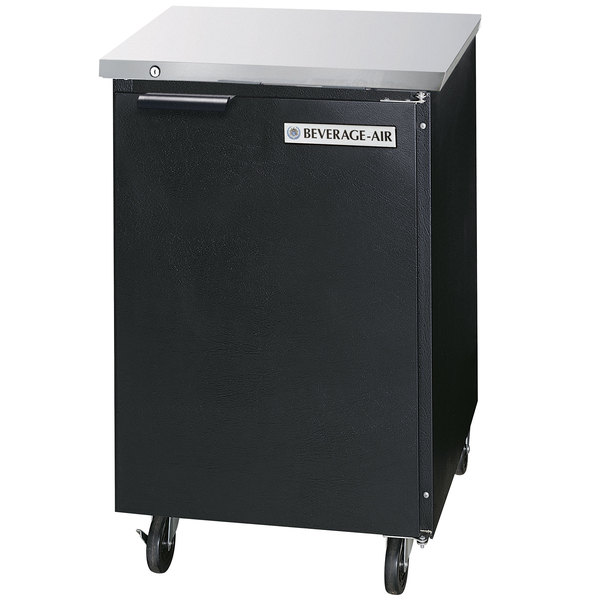 "Beverage-Air BB24HC-1-B 24"" Black Back Bar Refrigerator with 1 Solid Door - 115V"