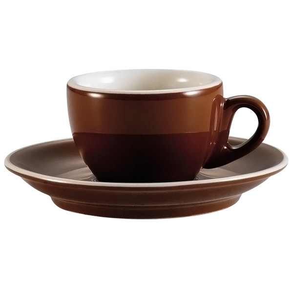 "CAC CFB-35 Venice 3.5 oz. Brown Espresso Cup with 5"" Saucer - 36/Case Main Image 1"