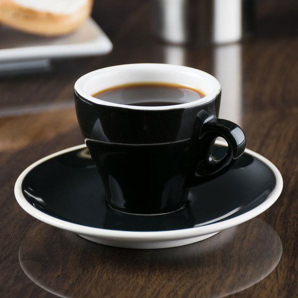 """CAC E-3-BLK Venice 3.5 oz. Black Espresso Cup with 4 7/8"""" Saucer - 48/Case"""