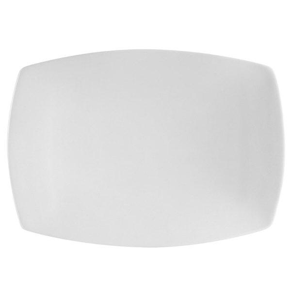 "CAC COP-RT12 10 1/2"" x 7 3/8"" Coupe Bright White Rectangular Porcelain Platter - 24/Case Main Image 1"